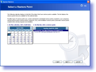 how to delete system restore points xp