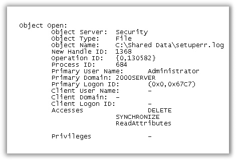 Audit For Deleted Files Security Event 560 View