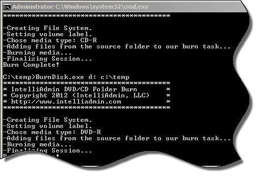Write CD DVD from the command line