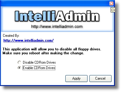 Click to view CD ROM Drive Disabler 2.0 screenshot