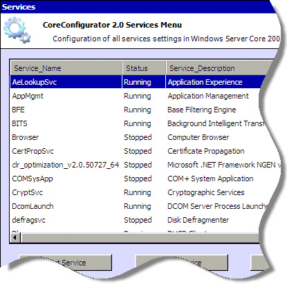 Windows 2008 Server Core Services Configuration