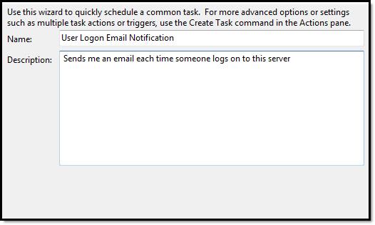 Logon Email Notification Description
