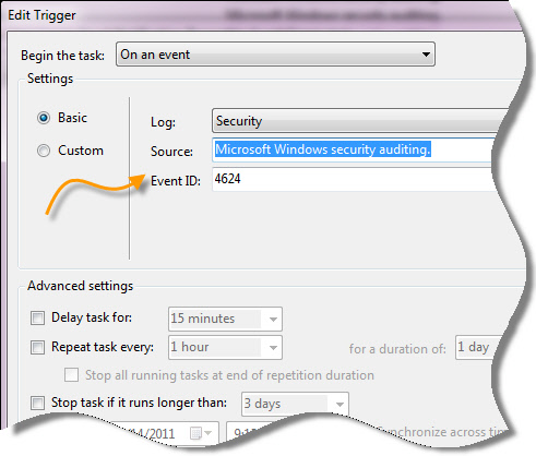 Logon Email Notification Filter Settings