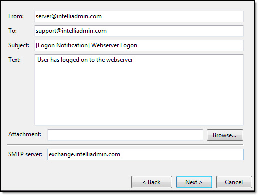Logon Email Notification Server Settings