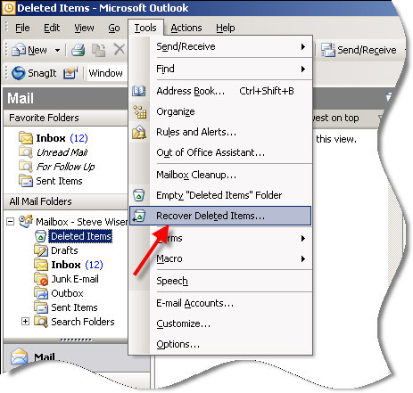 Recover deleted items in Outlook | Remote Administration For Windows