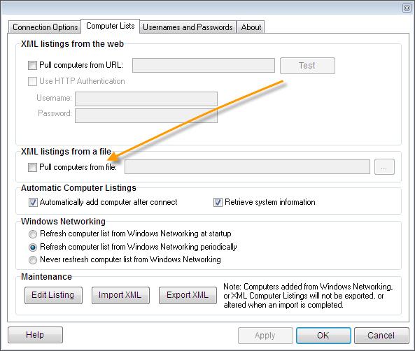 Remote Control Client File XML