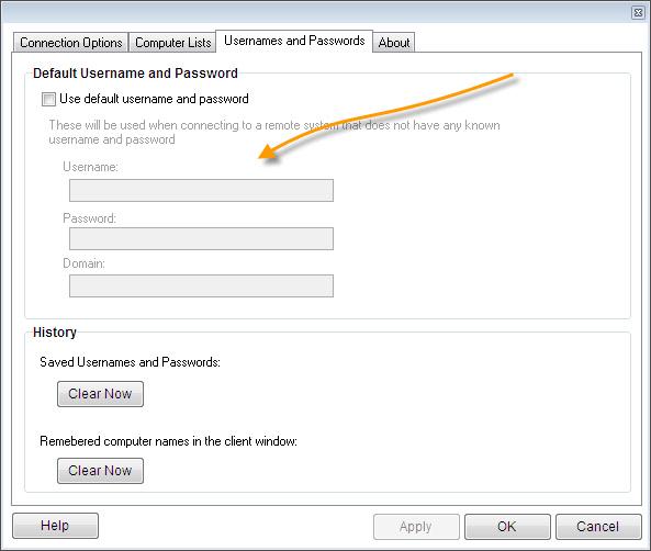 Remote Control Client Default Username