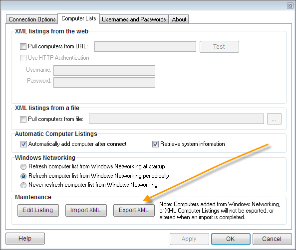 Remote Control Client Explort XML