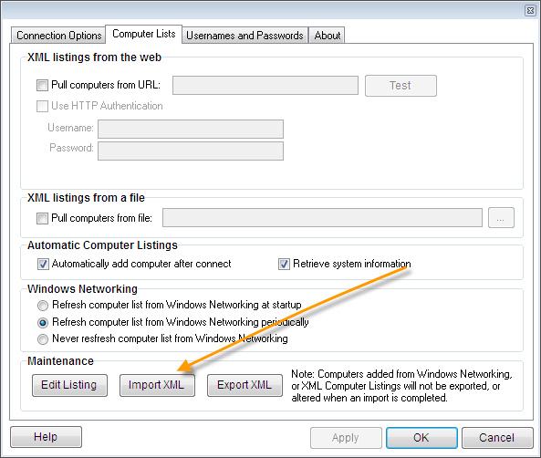 Remote Control Client XML Import