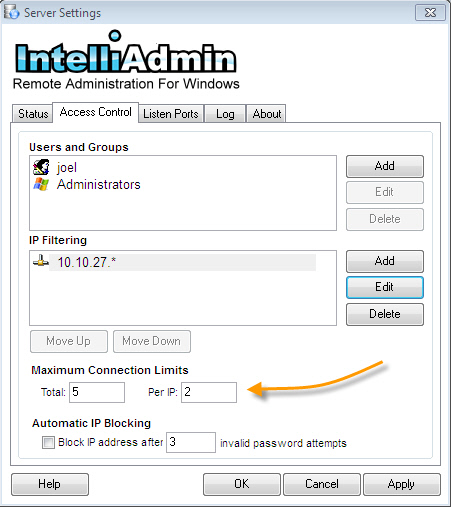 Remote Control Server Connection Limits