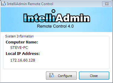 Remote Control Server Info Window