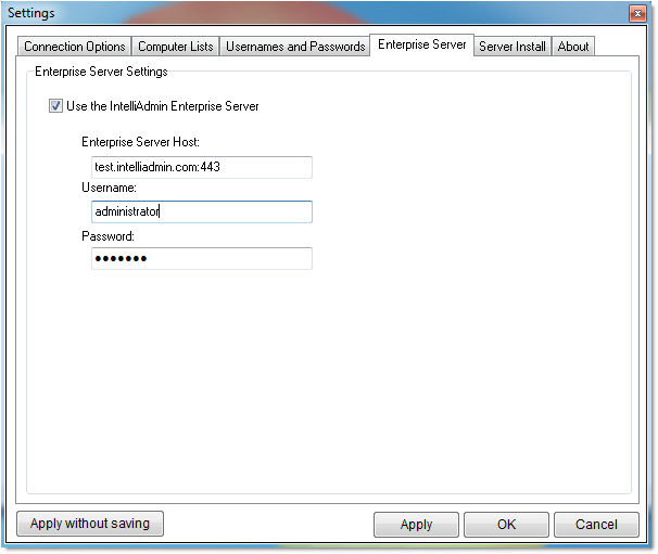 Enterprise Server Settings