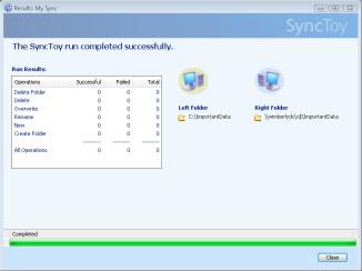SyncToy Finished