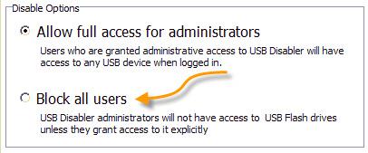 USB Disabler Options