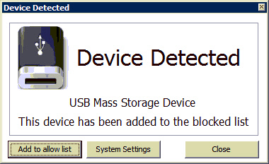 USB Disabler Device Detected