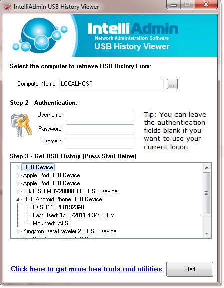 USB History view