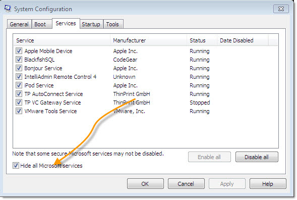 Windows 2008 Clean Boot Hide Microsoft