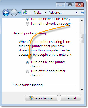 Windows 7 File and Printer Sharing