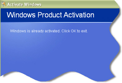 Windows Product Activation Already Activated