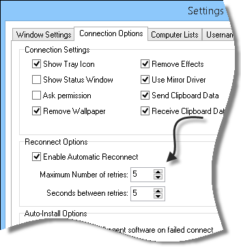 Remote Control Reconnect Options