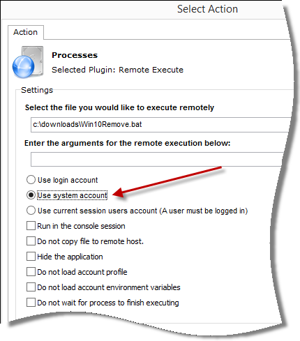 Remote Execute options