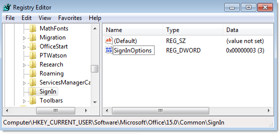 Sign in options registry setting