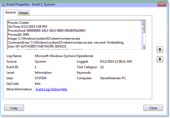 SysMon Event Log Entry