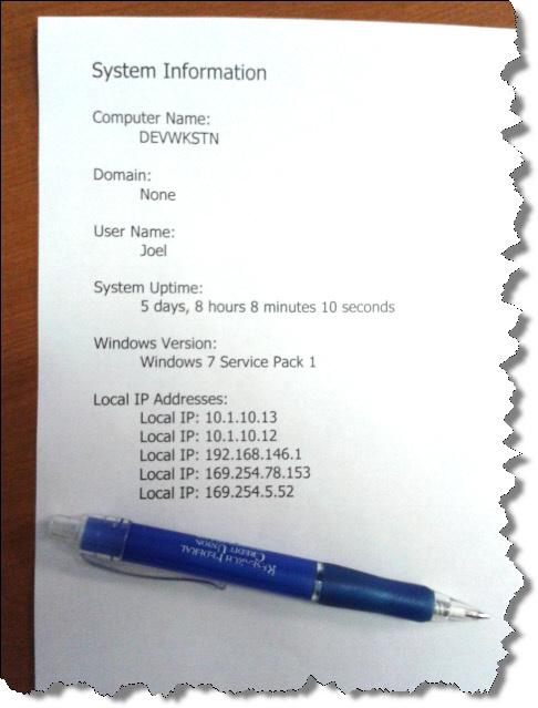 System Info Printout