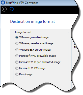 V2V Image Type Selection