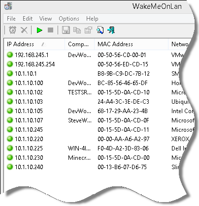 Wake On Lan Network Scan