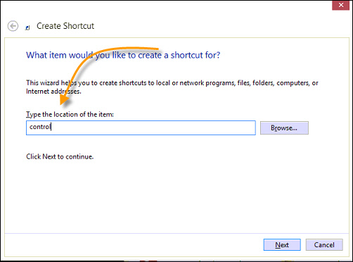 Control Panel Shortcut