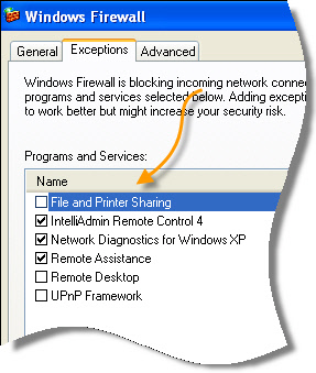 File and printer sharing firewall