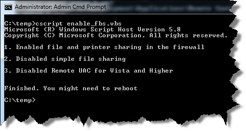 File and printer sharing script output