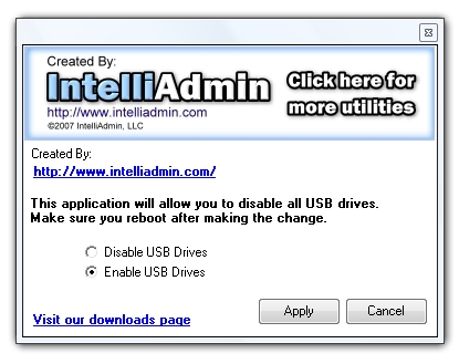 Click to view USB Drive Disabler 2.0 screenshot