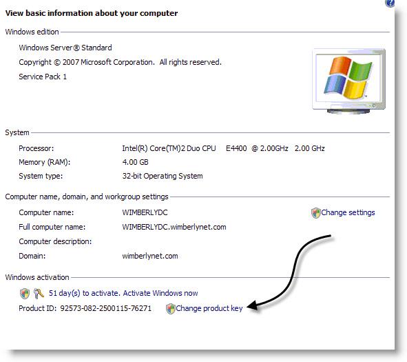 Windows 2008 Change Product Key